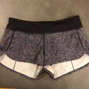 Lululemon Speed Shorts Size 6. Black/white
